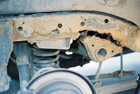 Both Sides Of The Frame Rusted Out In Same Place At Rate Over A Decade Until Parts Suspension That